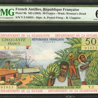 FRENCH ANTILLES. Republique Francaise. 50 Francs, ND (1964). P-9b.