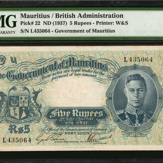 MAURITIUS. Government of Mauritius. 5 Rupees, ND (1937). P-22. PMG