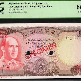 AFGHANISTAN. Bank of Afghanistan. 1000 Afghanis, 1967. P-46s. Specimen.