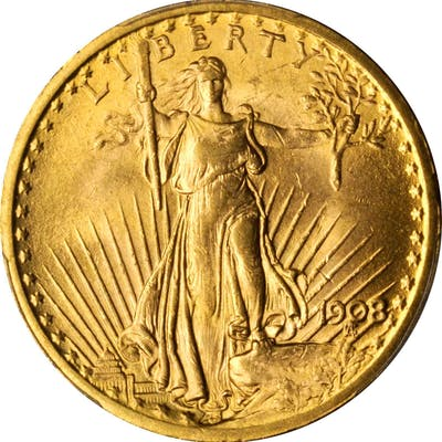 1908 Saint-Gaudens Double Eagle. No Motto. MS-63 (PCGS).