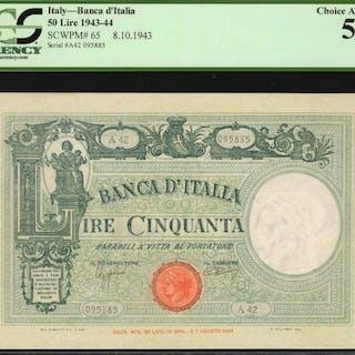 ITALY. Banca d'Italia. 50 Lire, 1943-44. P-65. PCGS Currency Choice