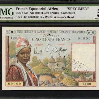 FRENCH EQUATORIAL AFRICA. Institut d'Emission. 500 Francs, ND (1957).