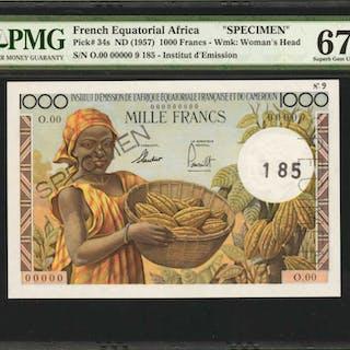 FRENCH EQUATORIAL AFRICA. Institut d'Emission. 1000 Francs, ND (1957).