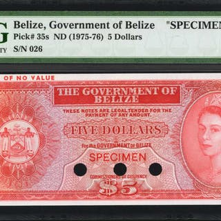 BELIZE. Government of Belize. 5 Dollars, ND (1975-76). P-35s. Specimen.