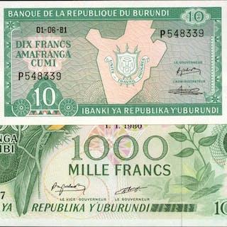 BURUNDI. Banque de la Republique du Burundi. 10 & 1000 Francs, 1980-81.