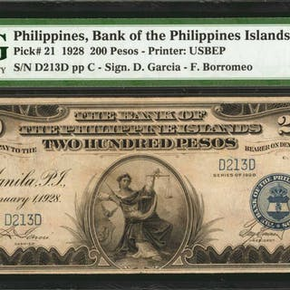 PHILIPPINES. Bank of The Philippines Islands. 200 Pesos, 1928. P-21.