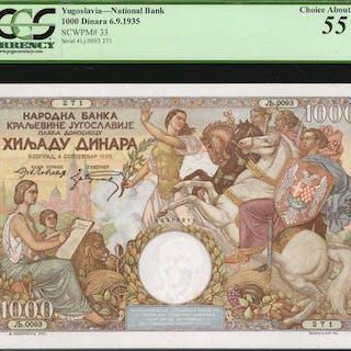YUGOSLAVIA. National Bank. 1000 Dinara, 1935. P-33. PCGS Currency