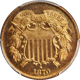 1870 Two-Cent Piece. Proof-66+ RD (PCGS). CAC.