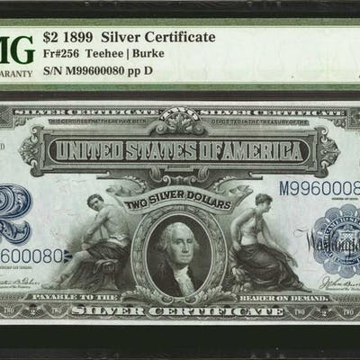 Fr. 256. 1899 $2 Silver Certificate. PMG About Uncirculated 53.