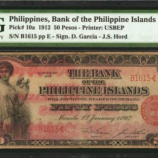 PHILIPPINES. Bank of The Philippine Islands. 50 Pesos, 1912. P-10a.