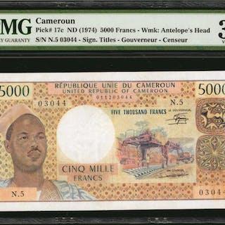 CAMEROON. Banque des Etats de l'Afrique Centrale. 5000 Francs, ND