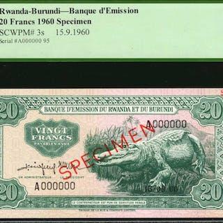 RWANDA-BURUNDI. Banque d'Emission. 20 Francs, 1960. P-3s. Specimen.