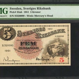 SWEDEN. Sveriges Riksbank. 5 Kronor, 1951. P-33ah. Consecutive. PMG