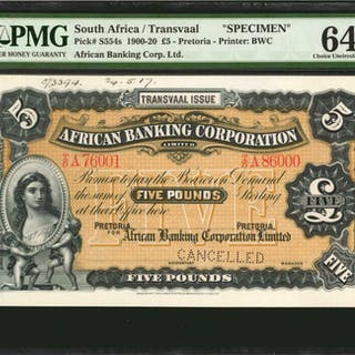 SOUTH AFRICA. African Banking Corporation. 5 Pounds, 1900-20 Issue.
