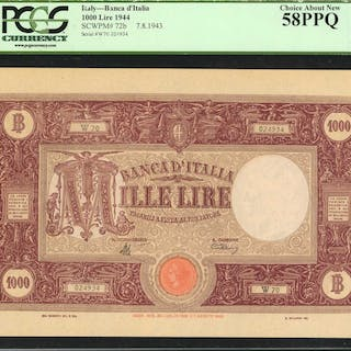 ITALY. Banca d'Italia. 1000 Lire, 1944. P-72b. PCGS Currency Choice