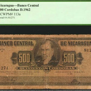 NICARAGUA. Banco Central. 500 Cordobas, 1962. P-113a. PCGS Currency