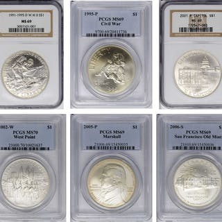 Lot of (6) Certified Modern Commemorative Silver Dollars.