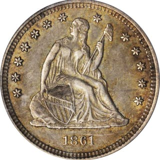 1861 Liberty Seated Quarter. EF-45 (PCGS).