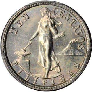 PHILIPPINES. 10 Centavos, 1914-S. San Francisco Mint. PCGS MS-64 Gold Shield.