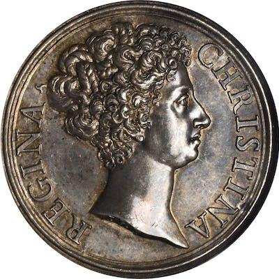 SWEDEN. Christina Silver Abdication Medal, 1680. Karl XI. NGC MS-63.