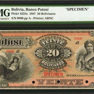 BOLIVIA. Banco Potosí. 20 Bolivianos, 1887. P-S224s. Specimen. PMG