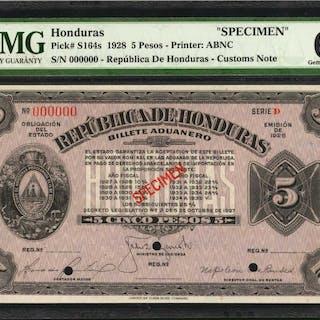 HONDURAS. Republica de Honduras. 5 Pesos, 1928. P-S164s. Specimen.