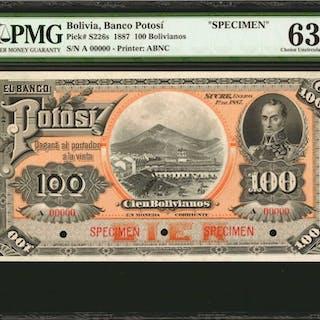 BOLIVIA. Banco Potosí. 100 Bolivianos, 1887. P-S226s. Specimen. PMG