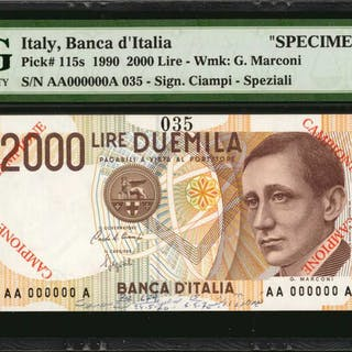 ITALY. Banca d'Italia. 2000 Lire, 1991. P-115s. Specimen. PMG Choice