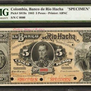 COLOMBIA. Banco de Rio Hacha. 5 Pesos. January 1, 1883. P-S819s. Specimen.