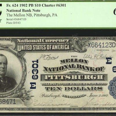 Pittsburgh, Pennsylvania. $10 1902 Plain Back. Fr. 624. The Mellon