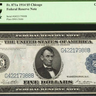 Fr. 871a. 1914 $5  Federal Reserve Note. Chicago. PCGS Currency Choice
