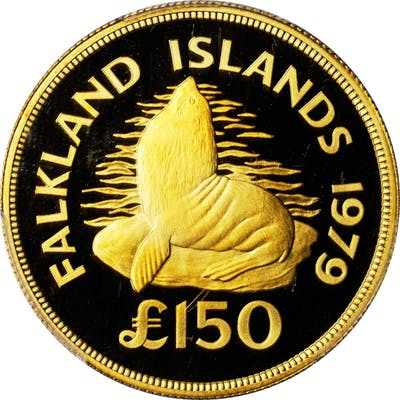 FALKLAND ISLANDS. 150 Pounds, 1979. PCGS PROOF-69 Deep Cameo Gold Shield.