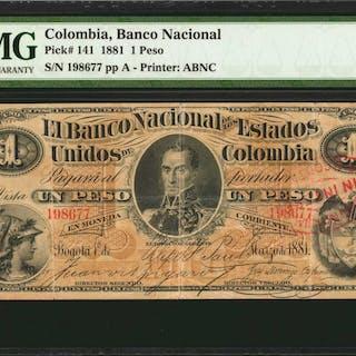 COLOMBIA. Banco Nacional. 1 Peso, 1881. P-141. PMG Very Fine 25.