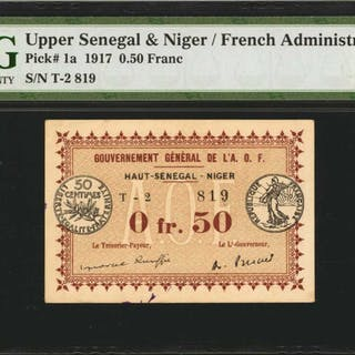 UPPER SENEGAL & NIGER. French Administration. 0.50 Franc, 1917. P-1a.