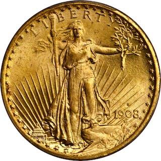 1908-S Saint-Gaudens Double Eagle. MS-66+ (PCGS). CAC.
