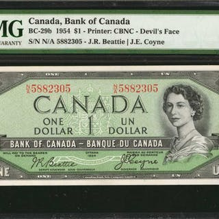 CANADA. Bank of Canada. 1/1 Dollar, 1954. BC-29b. PMG Choice Uncirculated 64.