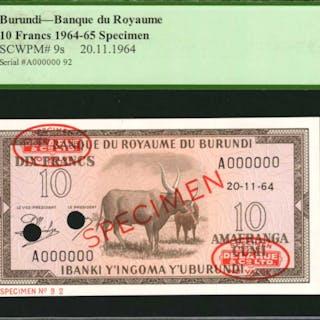 BURUNDI. Banque du Royaume. 10 Francs, 1964-65. P-9s. Specimen. PCGS