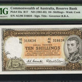 AUSTRALIA. Commonwealth Bank of Australia. 10 Shillings, ND (1961-65).