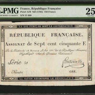FRANCE. Republique Francaise. 750 Francs, 1795. P-A79. PMG Very Fine 25.