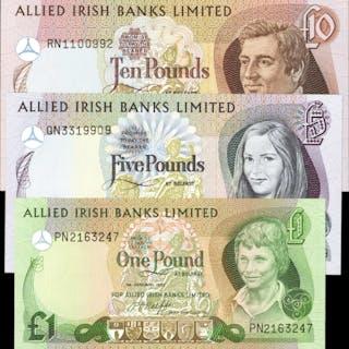 IRELAND, NORTHERN. Allied Irish Banks Limited. 1, 5 & 10 Pounds, 1982-84.
