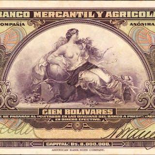 VENEZUELA. Banco Mercantil y Agricola. 100 Bolivares, 1929. P-S233.