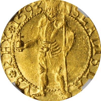 TRANSYLVANIA. Ducat, 1593. Baia Mare (Nagybánya) Mint. Sigismund Bathory.