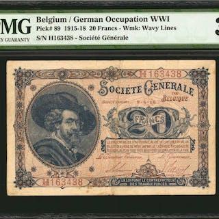 BELGIUM. Societe Generale de Belgique. 20 Francs, 1915-18. P-89. German