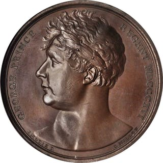 GREAT BRITAIN. Prince of Wales Bronze Medal, ND (1820). NGC MS-66 BN.