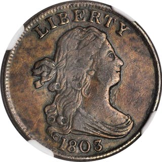 1803 Draped Bust Half Cent. C-3. Widely Spaced 3. EF-40 BN (NGC).