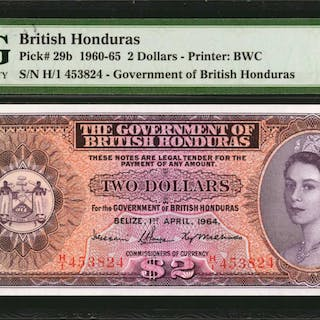 BRITISH HONDURAS. Government of British Honduras. 2 Dollars, 1960-65.