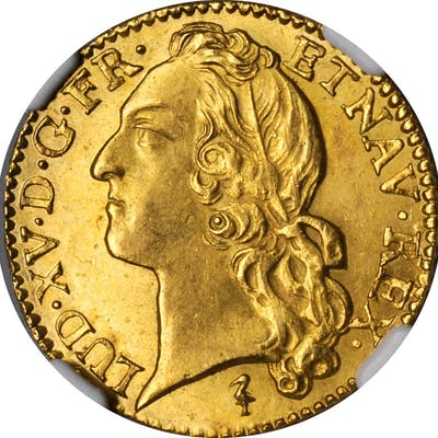 FRANCE. Louis d'Or, 1749-W. Lille Mint. Louis XV. NGC MS-64.
