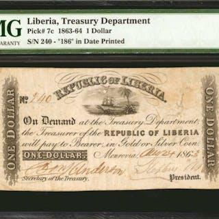 LIBERIA. Treasury Department. 1 Dollar, 1863-64. P-7c. PMG Very Fine 25.
