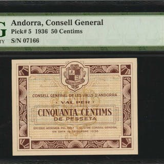 ANDORRA. Consell General. 50 Centimes, 1936. P-5. PMG Superb Gem Uncirculated
