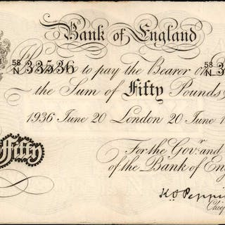 GREAT BRITAIN. Bank of England. 50 Pounds, 1930-37. P-Unlisted. Operation